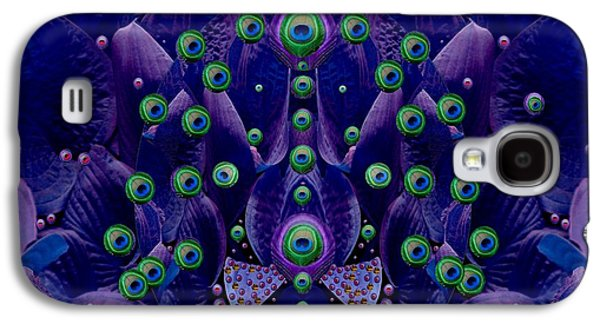 Contemplative Mixed Media Galaxy S4 Cases - Peacock Eyes in a Fantasy Landscape Galaxy S4 Case by Pepita Selles