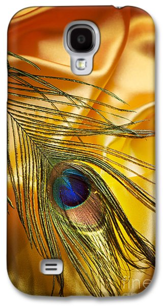 Abstracts Pyrography Galaxy S4 Cases - Peacock Feather Galaxy S4 Case by Jelena Jovanovic
