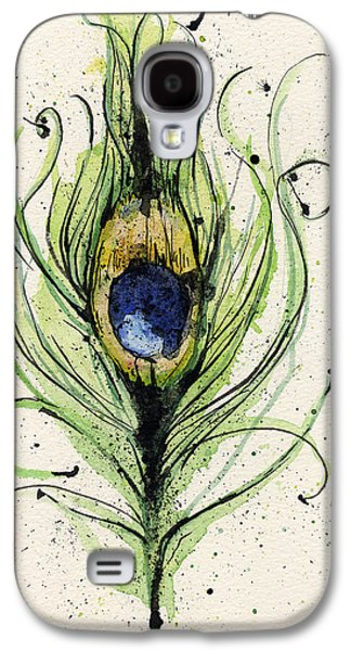 Green Galaxy S4 Cases - Peacock Feather Galaxy S4 Case by Mark M  Mellon