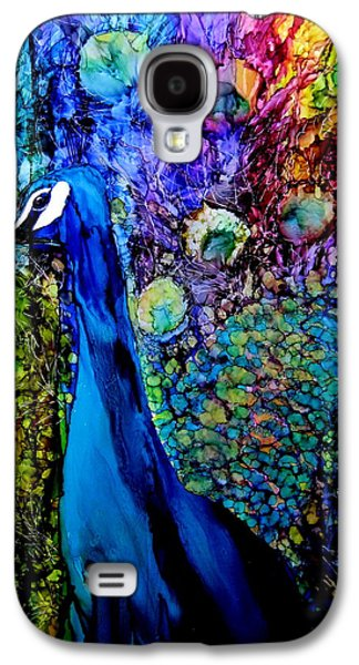 Blue Galaxy S4 Cases - Peacock II Galaxy S4 Case by Karen Walker