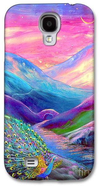 Field Paintings Galaxy S4 Cases - Peacock Magic Galaxy S4 Case by Jane Small