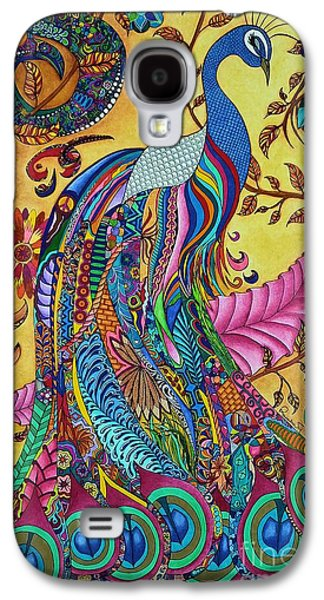 Colored Pencil Abstract Drawings Galaxy S4 Cases - Peacock Galaxy S4 Case by Rebeca Rambal