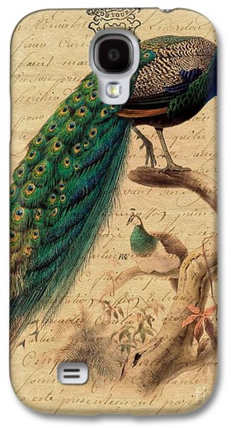 Becky Digital Galaxy S4 Cases - Peacock With French Letter Galaxy S4 Case by Becky Hayes