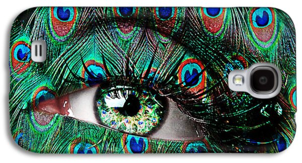 Face Digital Galaxy S4 Cases - Peacock Galaxy S4 Case by Yosi Cupano