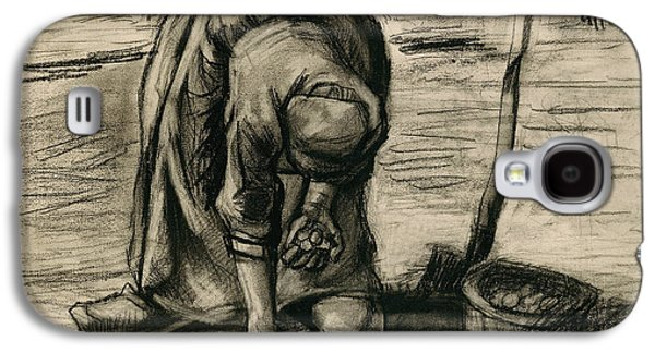 Sepia Chalk Galaxy S4 Cases - Peasant Woman Planting Potatoes Galaxy S4 Case by Vincent Van Gogh