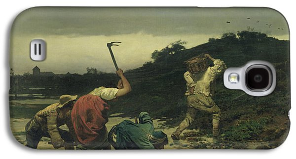 Flooding Galaxy S4 Cases - Peasants Harvesting Potatoes During The Flood Of The Rhine In 1852 Oil On Canvas Galaxy S4 Case by Gustave Brion
