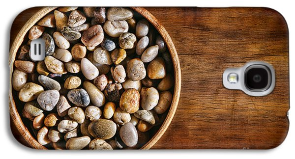 Pebbles Galaxy S4 Cases - Pebbles in Wood Bowl Galaxy S4 Case by Olivier Le Queinec