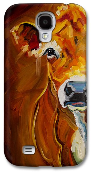 Cows Paintings Galaxy S4 Cases - Peek Cow Galaxy S4 Case by Diane Whitehead