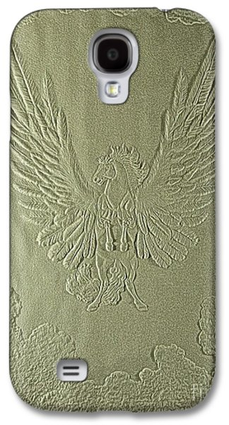 Horse Reliefs Galaxy S4 Cases - Pegasus Embossing Cont L Galaxy S4 Case by Dale Crum