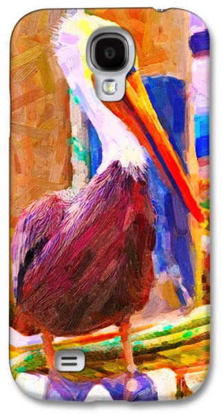 Half Moon Bay Galaxy S4 Cases - Pelican On The Dock Galaxy S4 Case by Wingsdomain Art and Photography