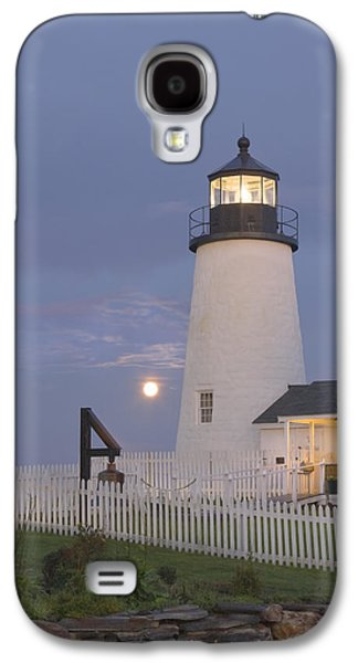 Maine Lighthouses Galaxy S4 Cases - Pemaquid Point Lighthouse and Moon Maine Coast Galaxy S4 Case by Keith Webber Jr