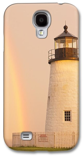 Maine Lighthouses Galaxy S4 Cases - Pemaquid Point Lighthouse And Rainbow in Maine  Galaxy S4 Case by Keith Webber Jr