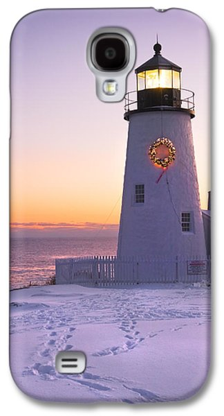 Maine Winter Galaxy S4 Cases - Pemaquid Point lighthouse Christmas Snow Wreath Maine Galaxy S4 Case by Keith Webber Jr