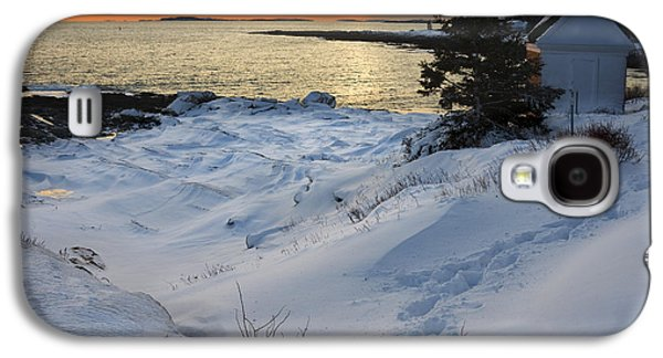 Maine Lighthouses Galaxy S4 Cases - Pemaquid Point Winter Sunset on the Maine Coast Galaxy S4 Case by Keith Webber Jr