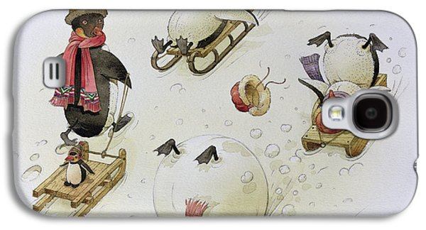 Sledge Galaxy S4 Cases - Penguins Sledging, 1999 Wc On Paper Galaxy S4 Case by Kestutis Kasparavicius