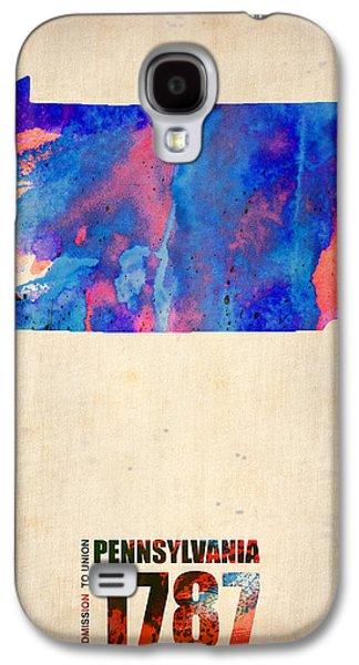 Pennsylvania Galaxy S4 Cases - Pennsylvania Watercolor Map Galaxy S4 Case by Naxart Studio