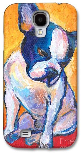 Puppy Drawings Galaxy S4 Cases - Pensive Boston Terrier Dog  Galaxy S4 Case by Svetlana Novikova