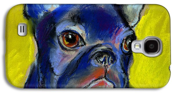 Blue Pastels Galaxy S4 Cases - Pensive French Bulldog portrait Galaxy S4 Case by Svetlana Novikova