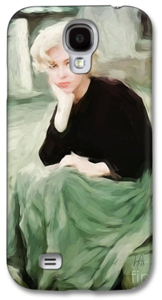 Munroe Digital Art Galaxy S4 Cases - Pensive Marilyn Galaxy S4 Case by Lynne Alexander
