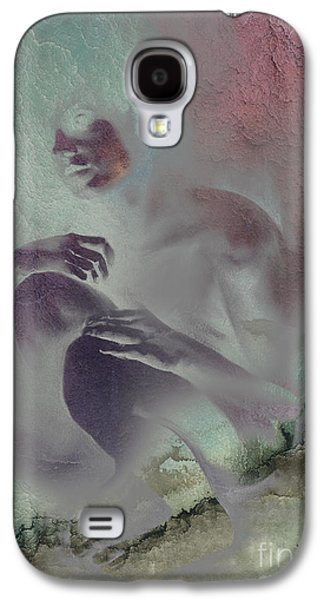 Contemplative Drawings Galaxy S4 Cases - Pensive with texture 2 Galaxy S4 Case by Paul Davenport