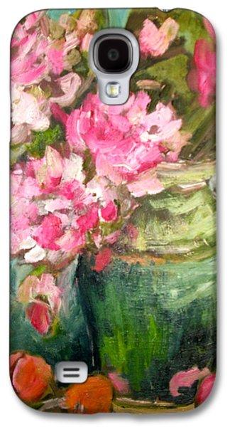 Carol Mangano Galaxy S4 Cases - Peonies and Peaches Galaxy S4 Case by Carol Mangano