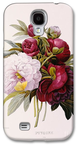Text Galaxy S4 Cases - Peonies engraved by Prevost Galaxy S4 Case by Pierre Joseph Redoute