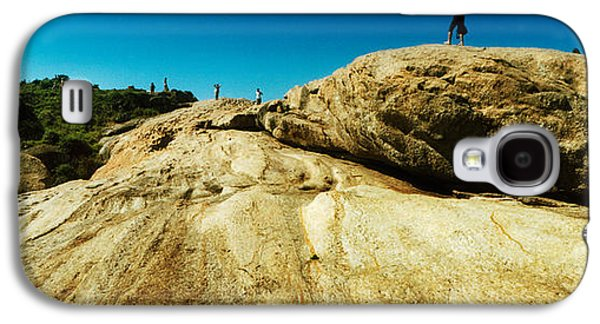 Beach Landscape Galaxy S4 Cases - People Hiking Along The Boulders That Galaxy S4 Case by Panoramic Images