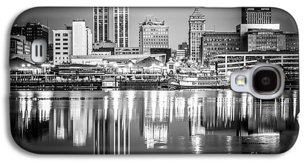 Business Galaxy S4 Cases - Peoria Illinois Skyline at Night in Black and White Galaxy S4 Case by Paul Velgos