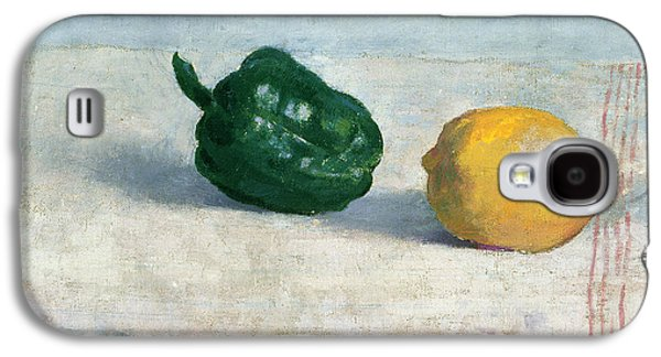 Pepper Paintings Galaxy S4 Cases - Pepper and Lemon on a White Tablecloth Galaxy S4 Case by Odilon Redon