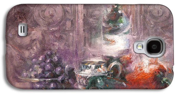 """""""indoor"""" Still Life Paintings Galaxy S4 Cases - Peppers and Senorita Reading Galaxy S4 Case by Larry Kaiser"""
