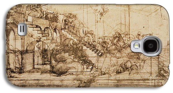 Staircase Galaxy S4 Cases - Perspective Study for the Background of the Adoration of the Magi Galaxy S4 Case by Leonardo da Vinci