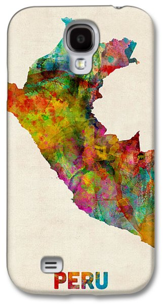 Map Galaxy S4 Cases - Peru Watercolor Map Galaxy S4 Case by Michael Tompsett