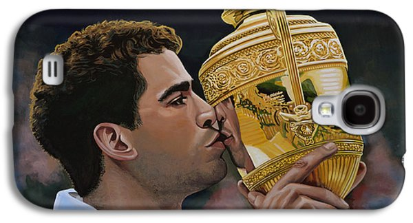 French Open Paintings Galaxy S4 Cases - Pete Sampras Galaxy S4 Case by Paul Meijering