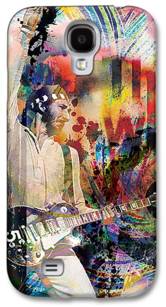 Rock N Roll Paintings Galaxy S4 Cases - Pete Townshend - The Who  Galaxy S4 Case by Ryan RockChromatic