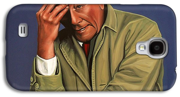 Male Paintings Galaxy S4 Cases - Peter Falk as Columbo Galaxy S4 Case by Paul Meijering