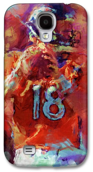 Athlete Digital Galaxy S4 Cases - Peyton Manning Abstract 3 Galaxy S4 Case by David G Paul