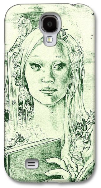 Printmaking Drawings Galaxy S4 Cases - Phantasia in Green Galaxy S4 Case by Holly Carton