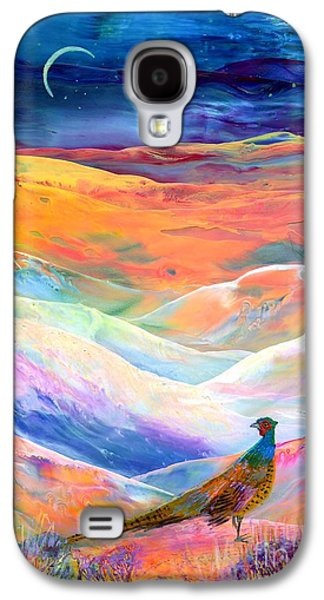 Wilderness Paintings Galaxy S4 Cases - Pheasant Moon Galaxy S4 Case by Jane Small