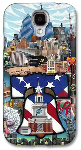 Phillies Paintings Galaxy S4 Cases - Philadelphia Galaxy S4 Case by Brett Sauce