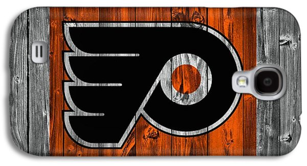 Champion Mixed Media Galaxy S4 Cases - Philadelphia Flyers Barn Door Galaxy S4 Case by Dan Sproul