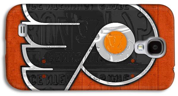 Hockey Mixed Media Galaxy S4 Cases - Philadelphia Flyers Hockey Team Retro Logo Vintage Recycled Pennsylvania License Plate Art Galaxy S4 Case by Design Turnpike