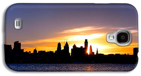 Landmarks Photographs Galaxy S4 Cases - Philadelphia Panoramic Sunset Galaxy S4 Case by Olivier Le Queinec