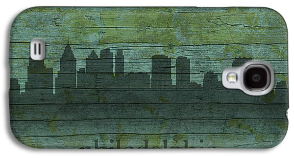 Skylines Mixed Media Galaxy S4 Cases - Philadelphia Pennsylvania Skyline Art on Distressed Wood Boards Galaxy S4 Case by Design Turnpike