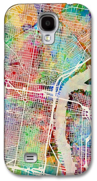Urban Street Galaxy S4 Cases - Philadelphia Pennsylvania Street Map Galaxy S4 Case by Michael Tompsett