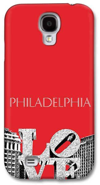 Philadelphia Skyline Love Park - Red Galaxy S4 Case by DB Artist