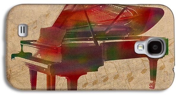 Piano Galaxy S4 Cases - Piano Instrument Watercolor Portrait With Sheet Music Background On Worn Canvas Galaxy S4 Case by Design Turnpike