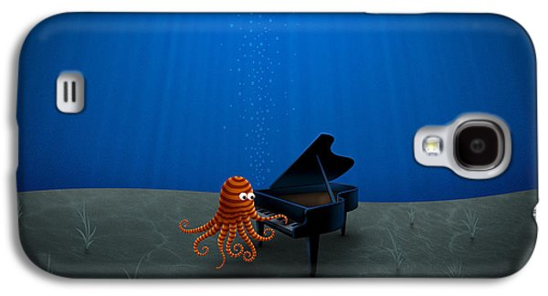 Abstract Digital Galaxy S4 Cases - Piano Playing Octopus Galaxy S4 Case by Gianfranco Weiss