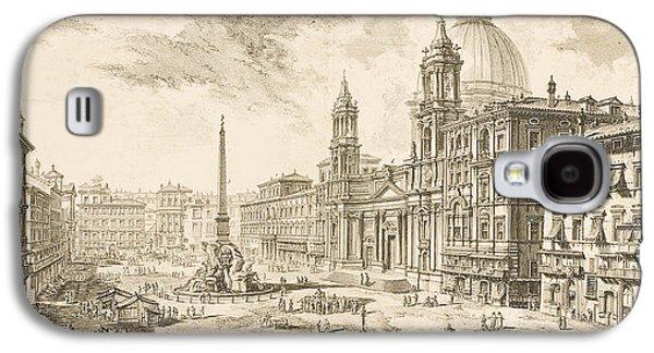 Printmaking Drawings Galaxy S4 Cases - Piazza Navona Galaxy S4 Case by Giovanni Battista Piranesi