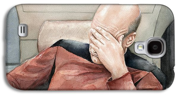 Science Fiction Paintings Galaxy S4 Cases - Picard Facepalm Meme Watercolor Galaxy S4 Case by Olga Shvartsur