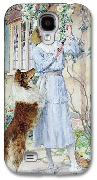 Dog Paintings Galaxy S4 Cases - Picking Roses Galaxy S4 Case by William Henry Margetson